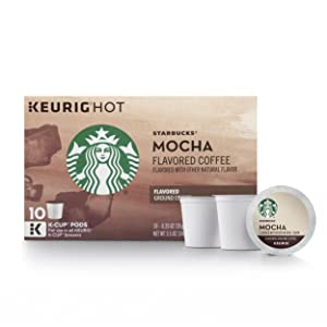Starbucks Mocha Flavored Medium Roast Single Cup Coffee for Keurig Brewers, 6 Boxes of 10 (60 Total K-Cup pods)