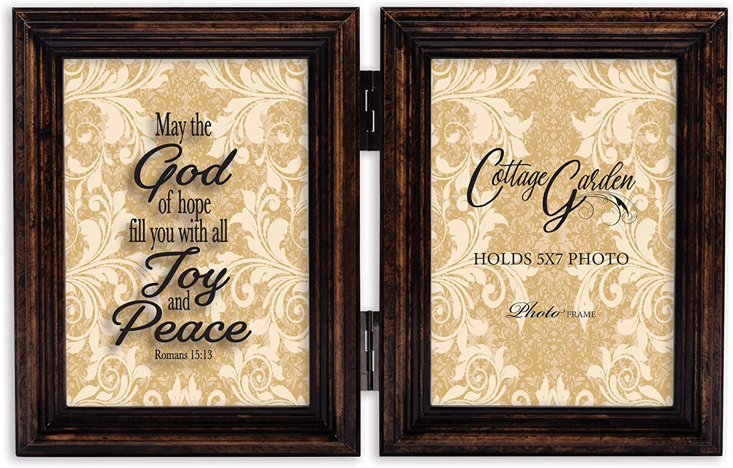 Cottage Garden Fill Joy Peace Amber Goldtone 5 x 7 Wood Hinged Double Tabletop Photo Frame