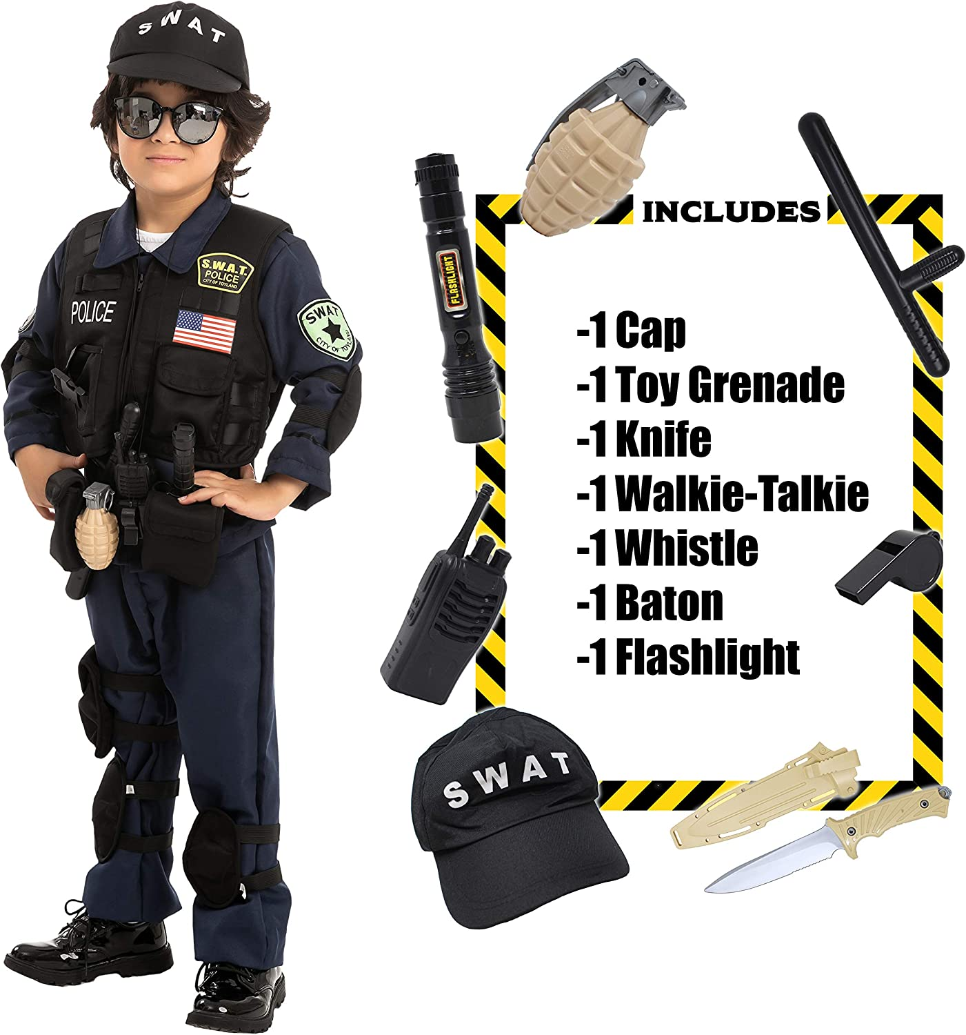 Spooktacular Creations Police SWAT Costume for Kids Halloween Cosplay, S.W.A.T. Police Officer
