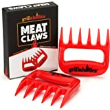 Grillaholics Meat Claws - Best Bear Claw Pulled Pork Meat Shredders in BBQ Grill Accessories - FREE Bonus - Dishwasher Safe - Premium Quality Grilling Handler Carving Fork - Set of 2 (Red)