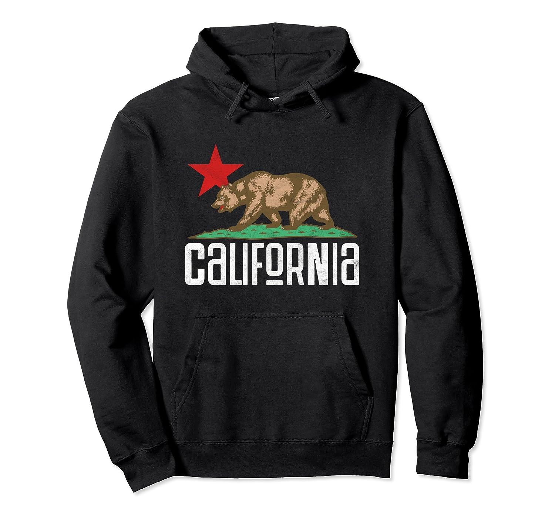 Vintage California Bear State Flag Retro Star Design Hoodie- TPT