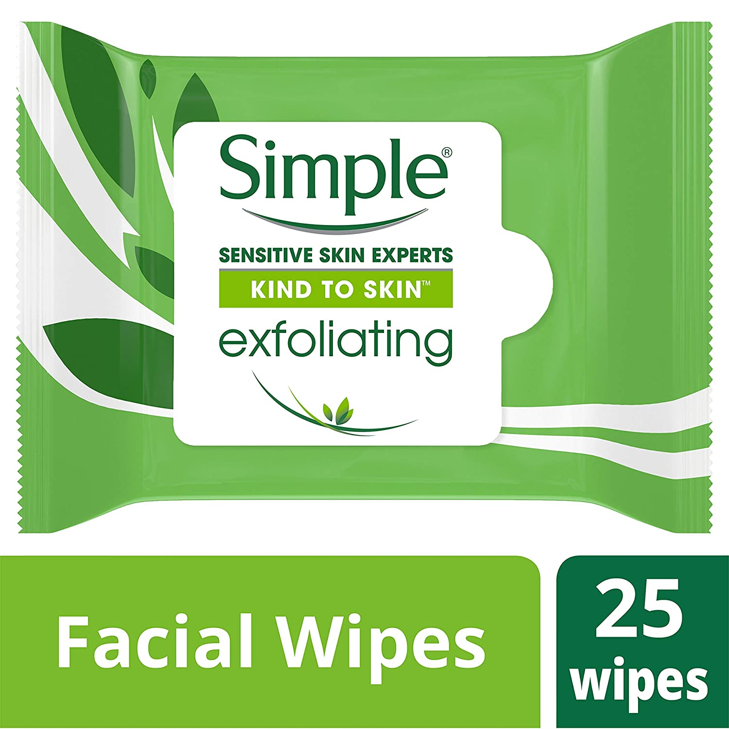 Simple Kind to Skin Facial Wipes, Exfoliating 25 ct