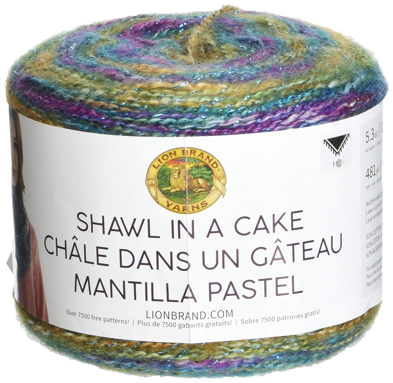 Amazon.com: Lion Brand Yarn 455-302 Shawl in a Cake-Metallic Yarn, Prism