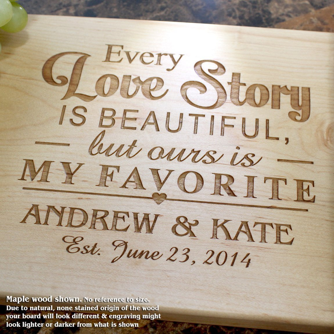 Personalized Cutting Board, Custom Keepsake, Engraved Serving Cheese Plate, Wedding, Anniversary, Engagement, Housewarming, Birthday, Corporate, Closing Gift #013