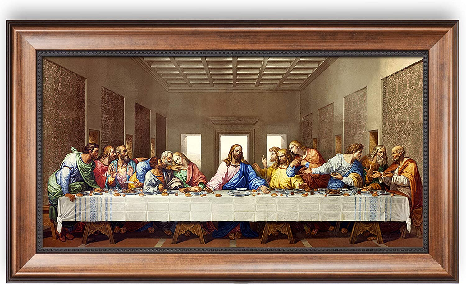 The Last Supper by Leonardo Da Vinci The World Classic Art Reproductions,Giclee Prints Framed WallArt for Home Decor,Image Size:24x12 inches,Bronze with Black lip Framed Size:27.75x15.75 inchs