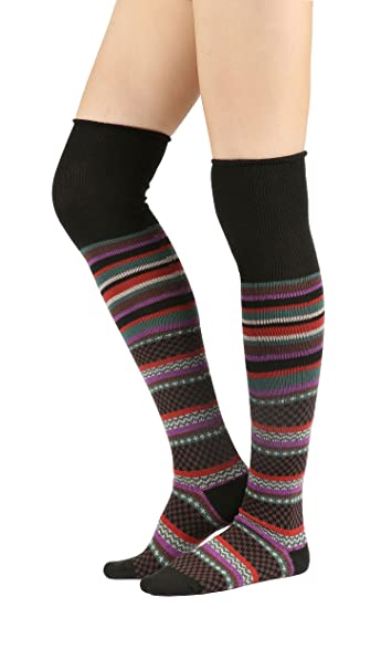 Vintage Socks | 1920s, 1930s, 1940s, 1950s, 1960s History STYLEGAGA Winter Multi-color Fair Isle Striped Cotton Knit Over The Knee High Boot Socks $12.90 AT vintagedancer.com