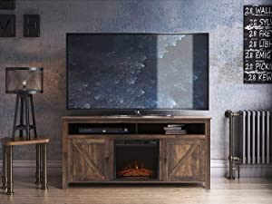 Fireplace TV Stand, Wood Entertainment Center, Wide Farmhouse Media Console Storage Cabinet for TVs Up to 60 Inches (Fireplace Purchased Separately)