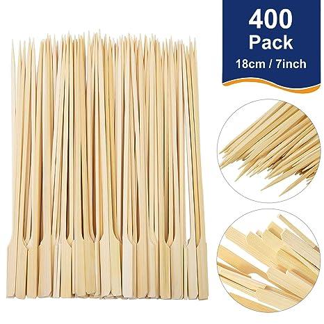 AooQie 400 piezas de palos de bambú para barbacoa de cóctel ...