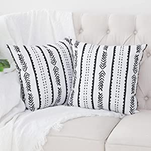 Kiuree Set of 2 Black and White Pillow Covers 18 x 18 inches Boho Aztec Arrow Polyester Blend Square Decorative Throw Pillow Covers for Sofa Couch Bed Decor(White)
