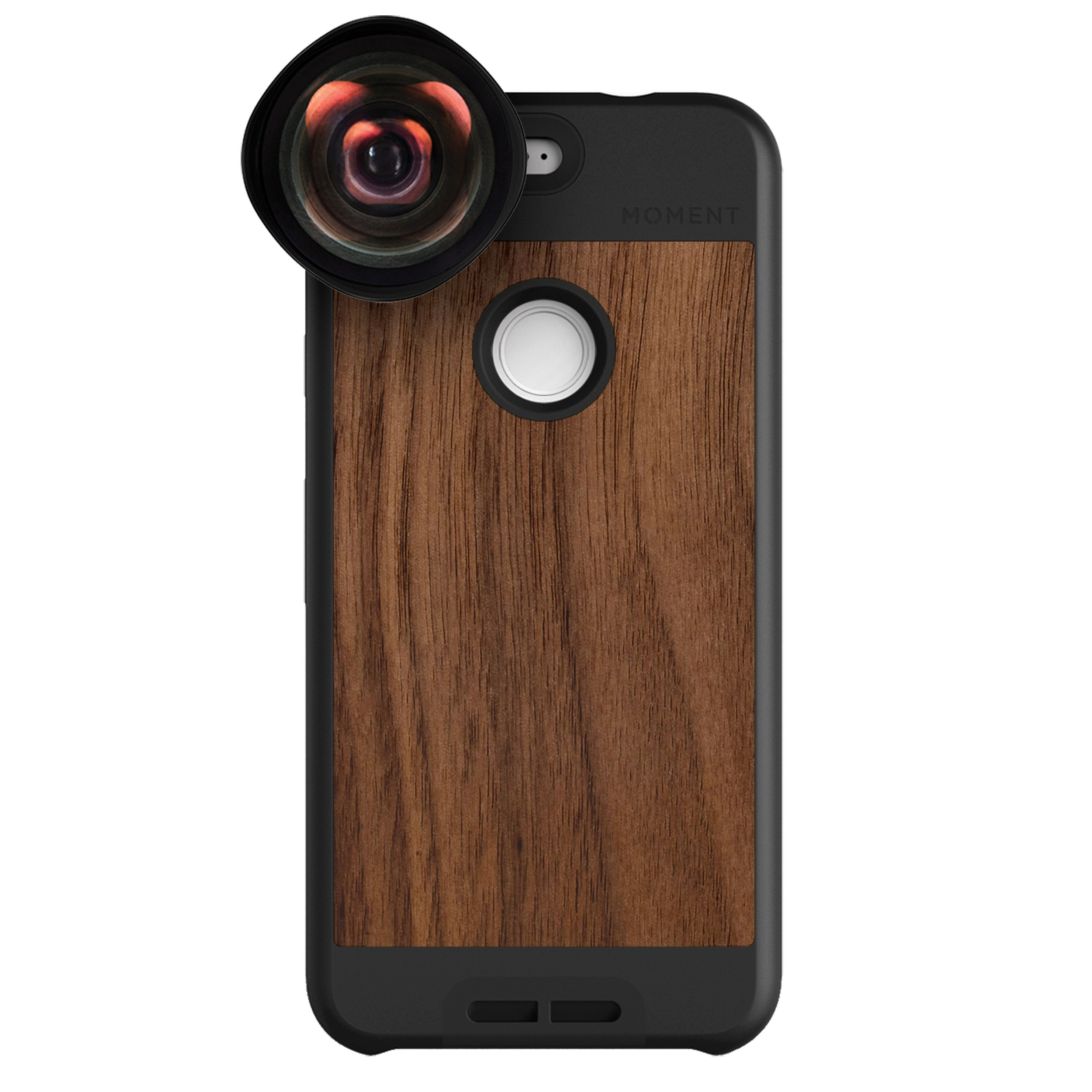 Google Pixel Case with Wide Lens Kit || Moment Walnut Wood Photo Case plus Wide Lens || Best google wide attachment lens with thin protective case. by Moment (Image #1)