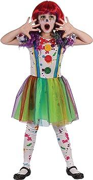 Generique - Disfraz de Payaso Pintura Multicolor niña XS 3-4 años ...