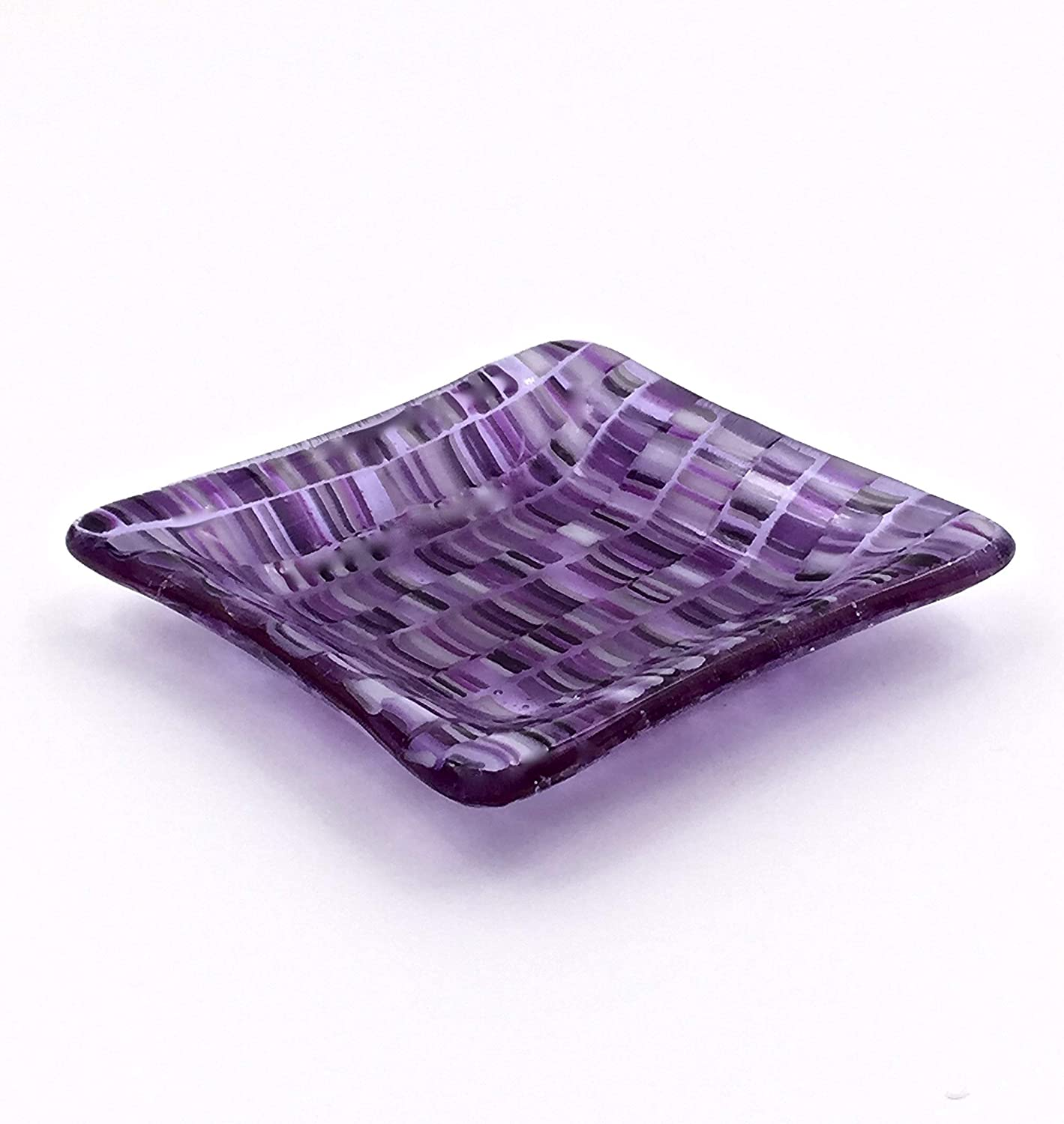 Handcrafted 4 Inch Fused Glass Decorative Bowl in Purple 81pT349CHIL