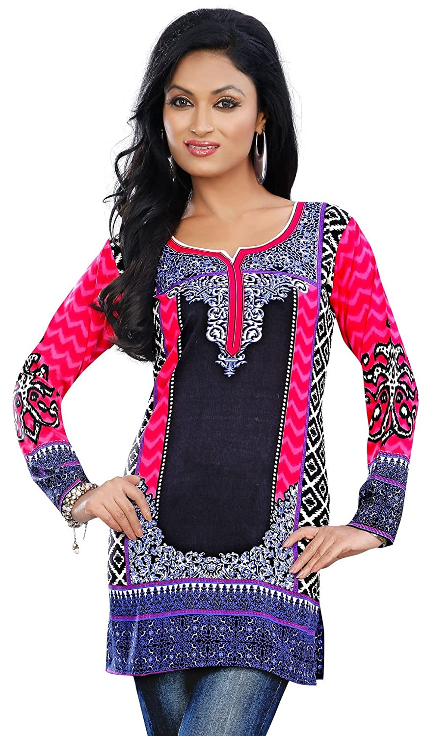 Colorful Indian Kurti Tunic Top Printed Womens Blouse India Clothes
