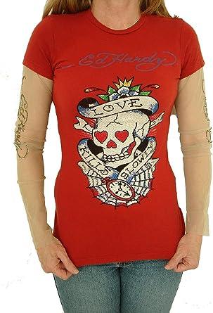 New Women/'s Ed Hardy Long Sleeved Specialty T Shirt Love Kills Slowly Black XS
