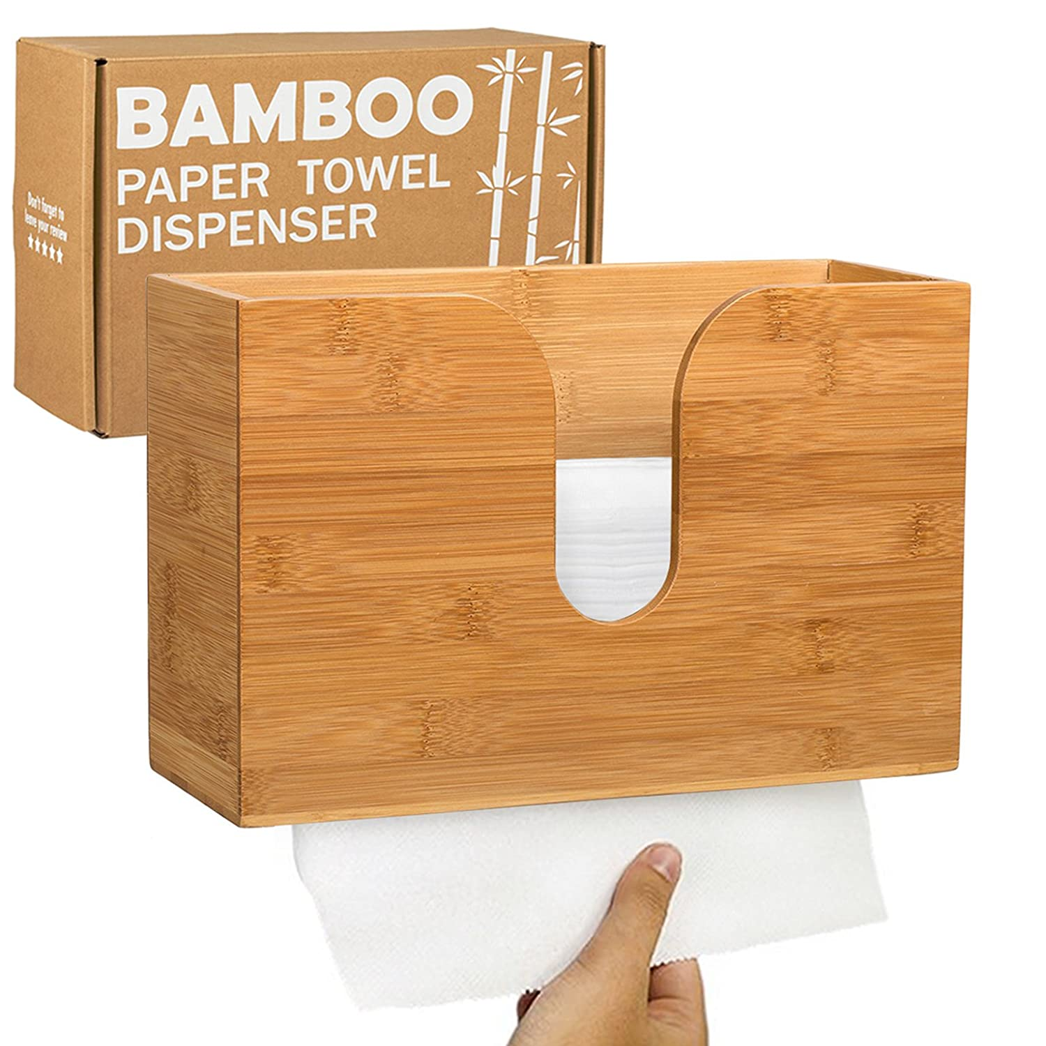 Bamboo Paper Towel Dispenser - Wall Mounted & Countertop for Kitchen/Bathroom - Holds Multifold, Z-fold, Trifold, Single Fold, C-fold Paper Towels