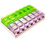 7 day AM PM or double push button pill organizer Weekly Pill Organizer Case Box Holder Dispenser for Your Supplements and Pills by SURVIVE Vitamins Translucent green and purple