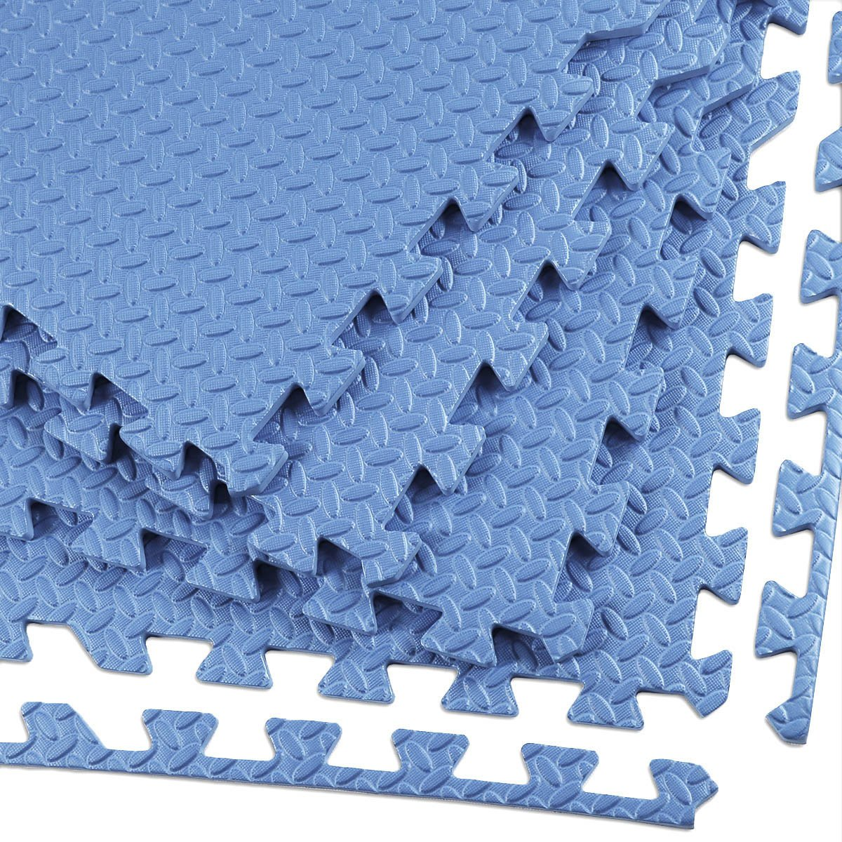 Clevr 96 sq. ft (24 Pieces) Interlocking Gym EVA Foam Floor Mat Tiles (24''x24''), Workout Exercise Mat - Blue Steel Pattern, Protective Flooring Puzzle Cushion with Borders, 1 Year Limited Warranty