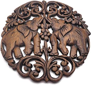 TJ Decoration Thai Teak Wood Wild Animal Carved Wall Elephant Wood Wall Hanging Wood Wall Decor Wall Art Sculpture (# 1)