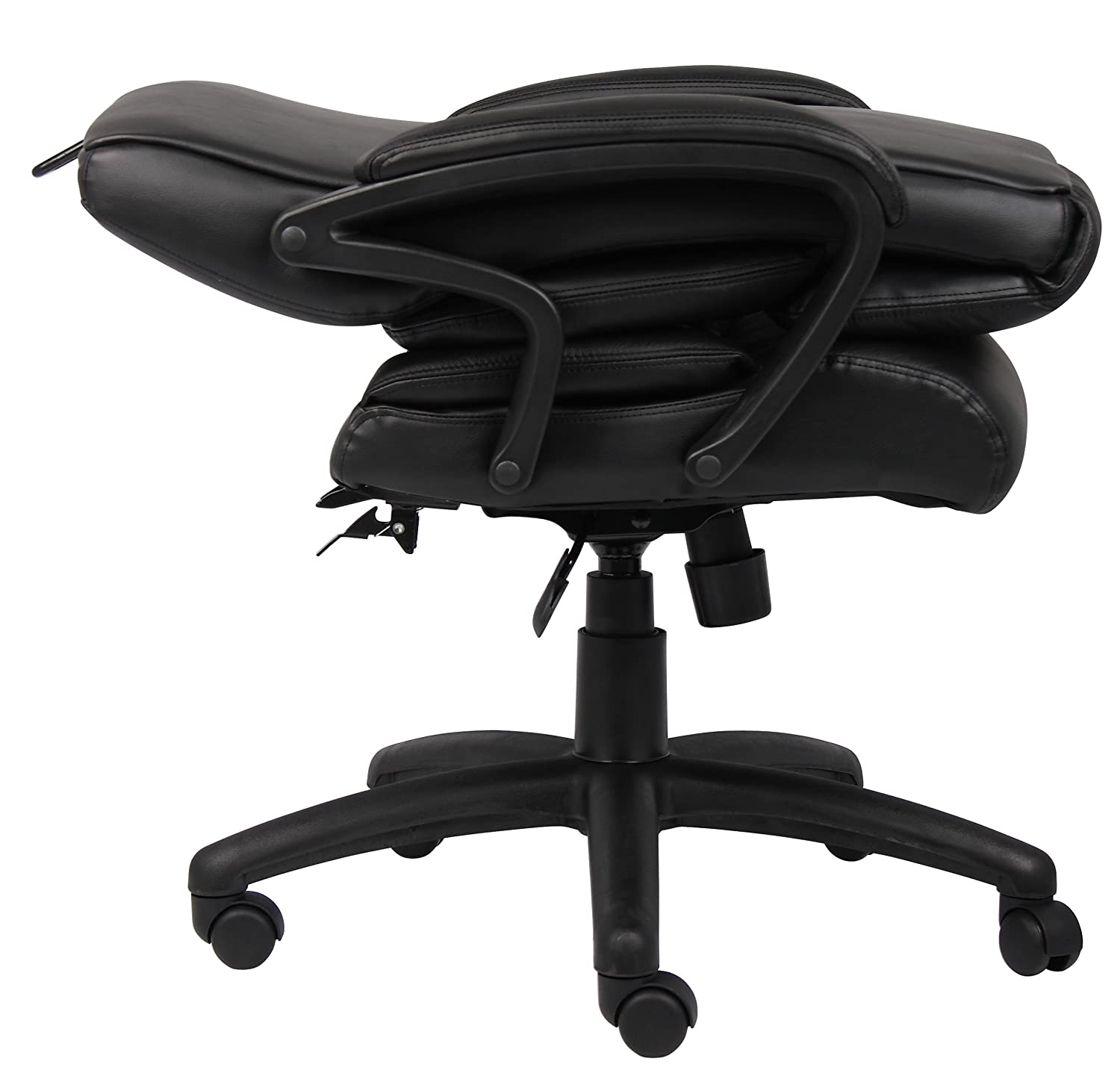 Amazon.com: Boss Office Products B8701 High Back No Tools Required Top  Grain Leather Chair In Black: Kitchen U0026 Dining