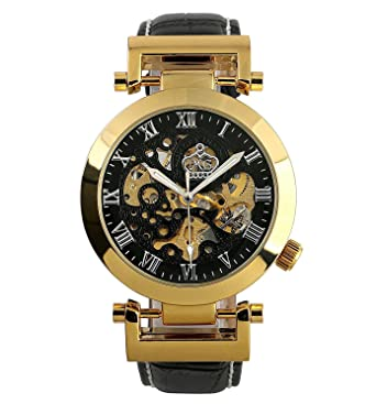 75e882fd702 Carrie Hughes Luxury Mens Automatic Wrist Watch Steampunk Mechanical  Skeleton Gold +Gift Box OKN003  Amazon.co.uk  Watches
