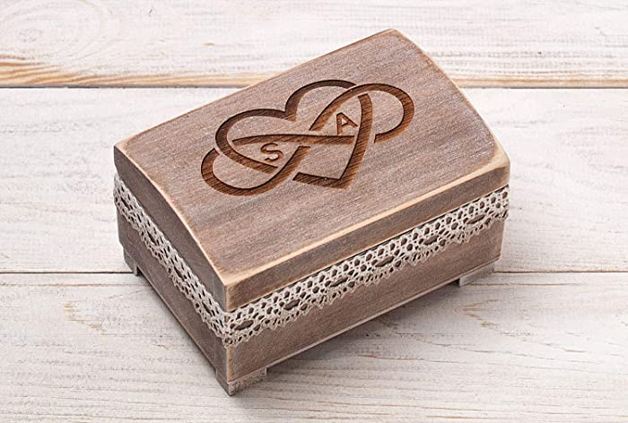 ea57601b61 Amazon.com: Rustic Ring Bearer Pillow, Wooden Ring Box, Wedding Ring  Holder, Wedding Keepsake Box, Jewelry Box, Matrimonial Box: Handmade