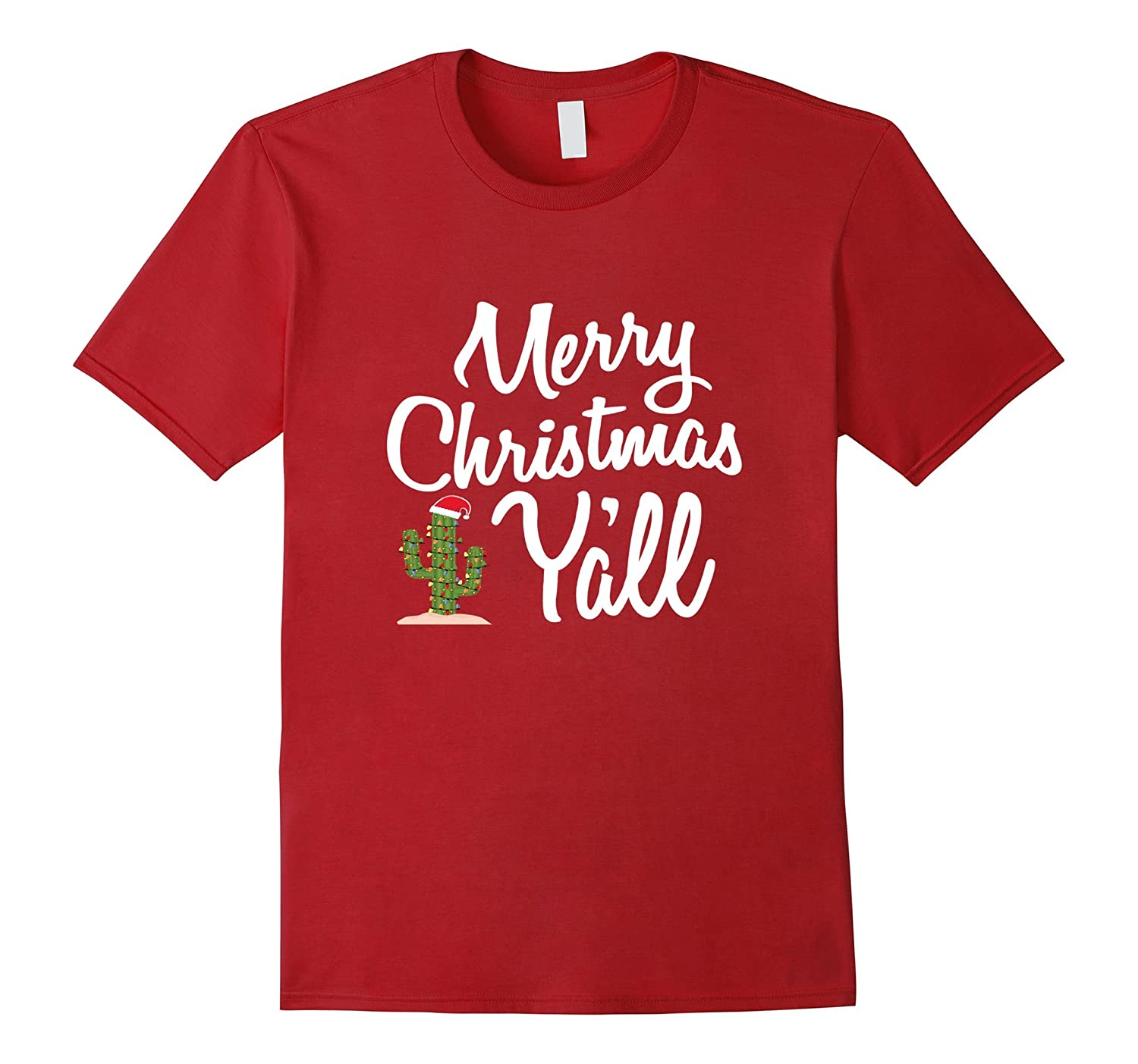 Cute Merry Christmas Y'all Southern Girl Gift T-Shirt-azvn