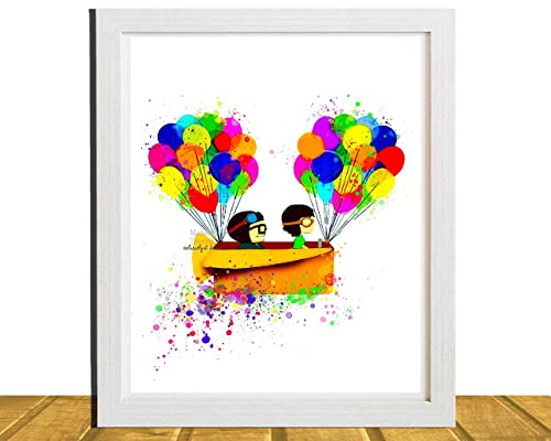 Amazon Com Carl And Ellie Disney Up Inspired Digital Print Watercolor Painting Effect Illustration Nursery Decor 8 X 10 Unframed Handmade