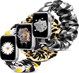 Compatible with Apple Watch Band 38mm 42mm 40mm 44mm iWatch Series 6 SE 5 4 3 2 1 Scrunchie Elastic Watch Band for Apple Watch(Leopard+Plaid+Daisy-42mm/44mm/M)