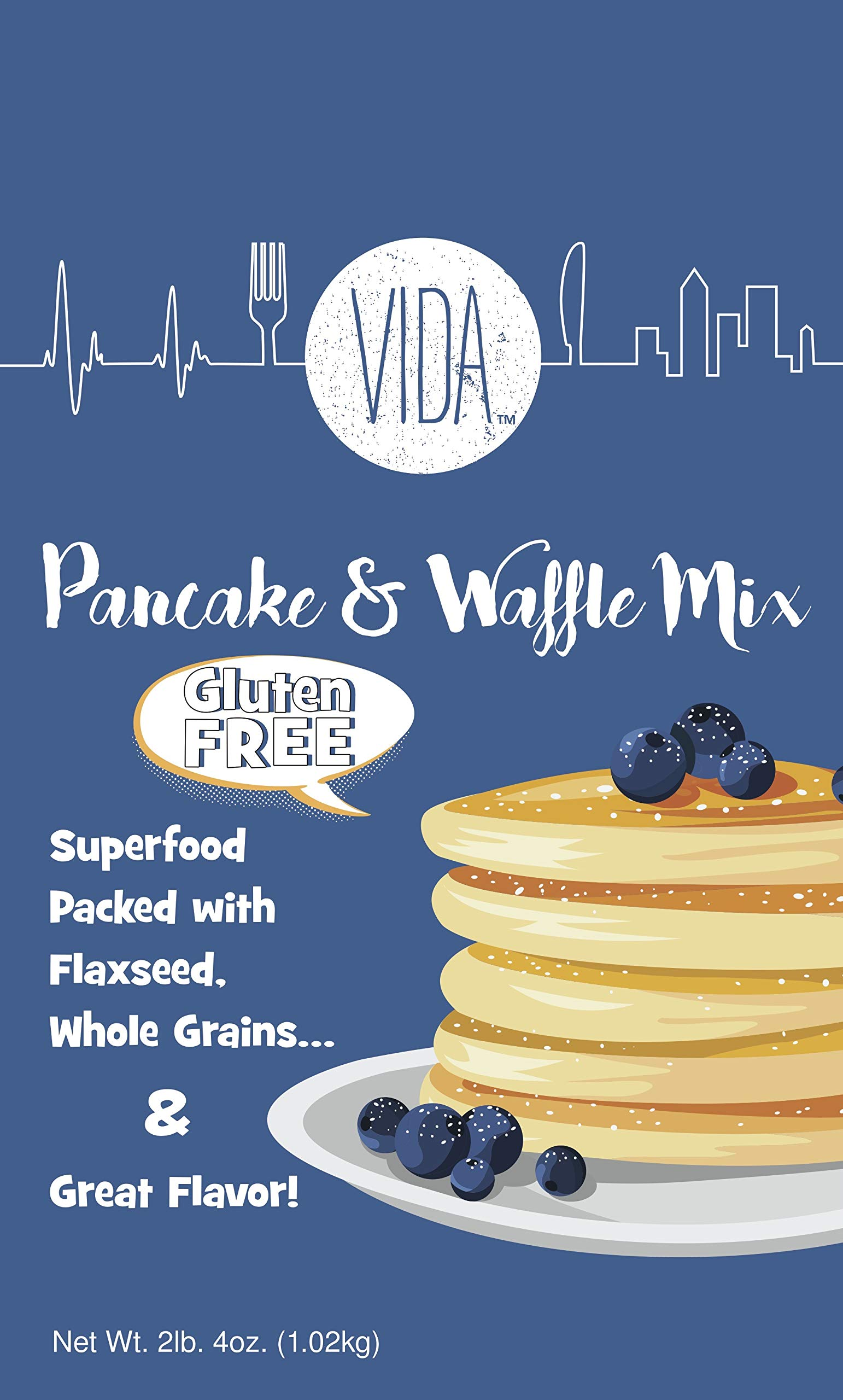 Gluten-Free Pancake and Waffle Mix 2lb. 4oz. (Pack of 2), Superfood, Made with Flaxseed, Oat and Brown Rice Flour, High Fiber and High Protein, Cholesterol-Free, Whole Grain by Vida. Soy-Free by Vida