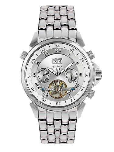 André Belfort 410015 - Reloj analógico de caballero automático con correa de acero inoxidable plateada - sumergible a 50 metros: Amazon.es: Relojes