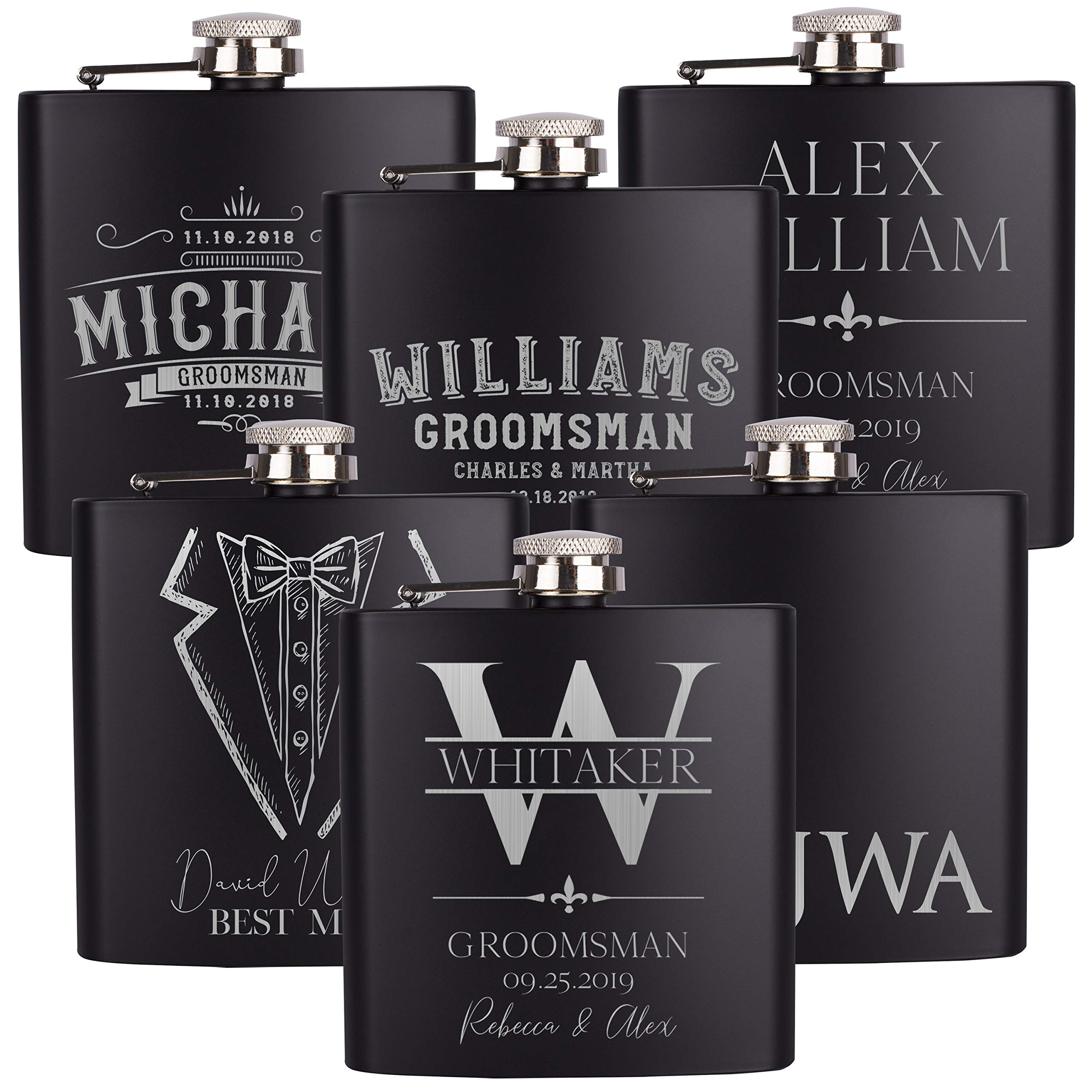 Set of 6, Personalized Groomsmen Gifts For Wedding, 15 Different Designs 2 Optional Gift Boxes, Personalized Flask Groomsman Gifts, Wedding Favor, 6 oz Customized Stainless Steel Hip Flasks by Be Burgundy