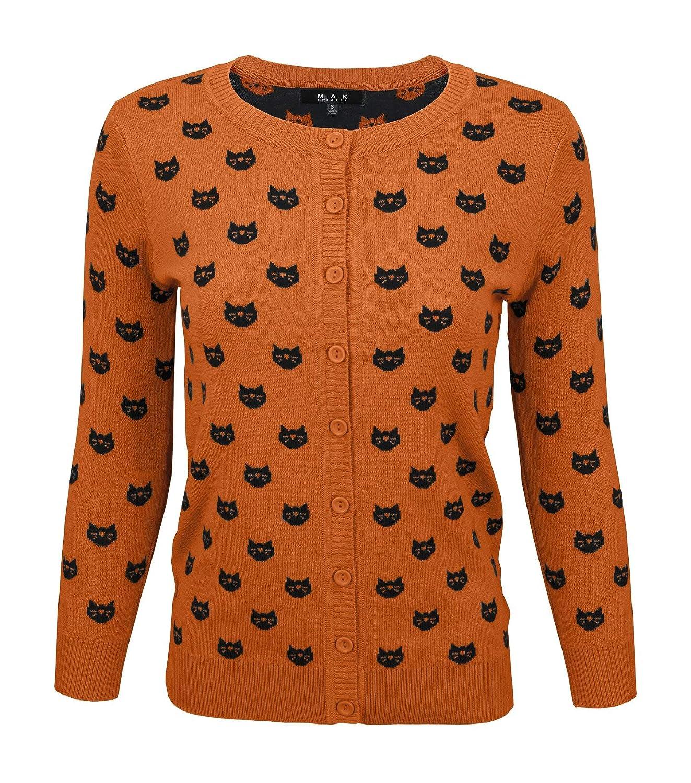 Dusty orange   Black YEMAK Women's Cute Cat Patterned 3 4 Sleeve Button Down Stylish Cardigan Sweater MK3466