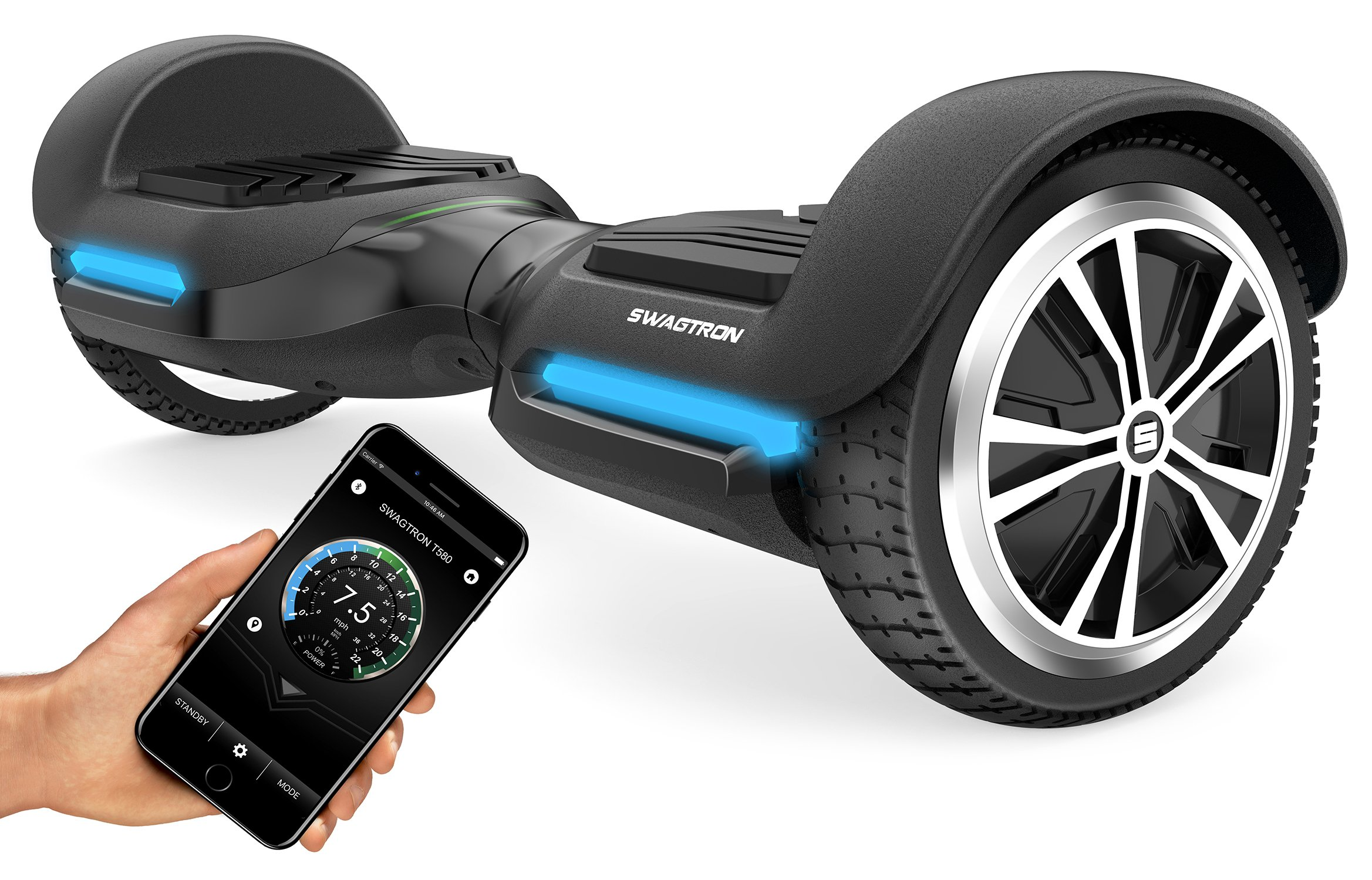 Swagtron T580 App-Enabled Hoverboard w/Speaker Smart Self-Balancing Wheel - Available on iPhone & Android by Swagtron