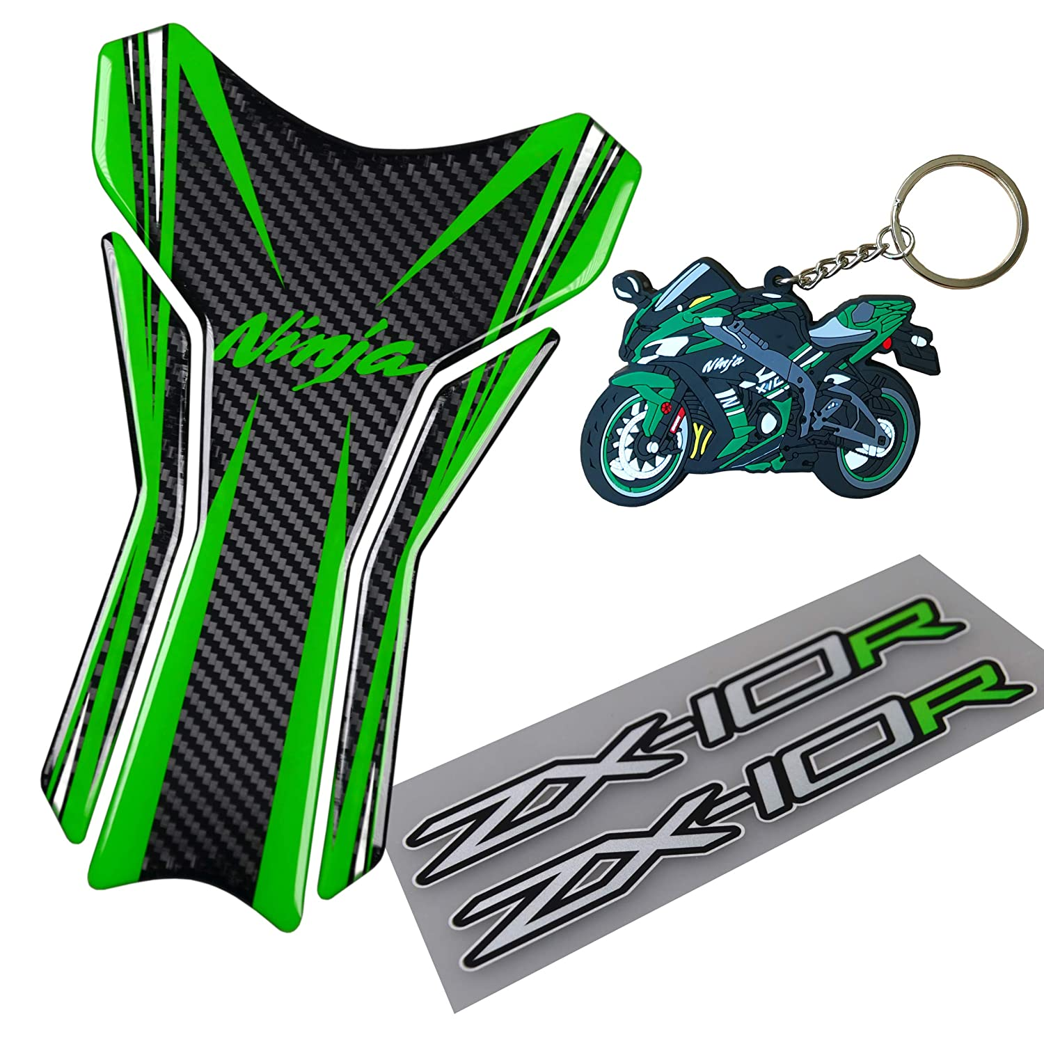 PSLER Motorcycle Reflective Stickers Decoration Decals Fuel Tank Stickers for ZX-3R Green