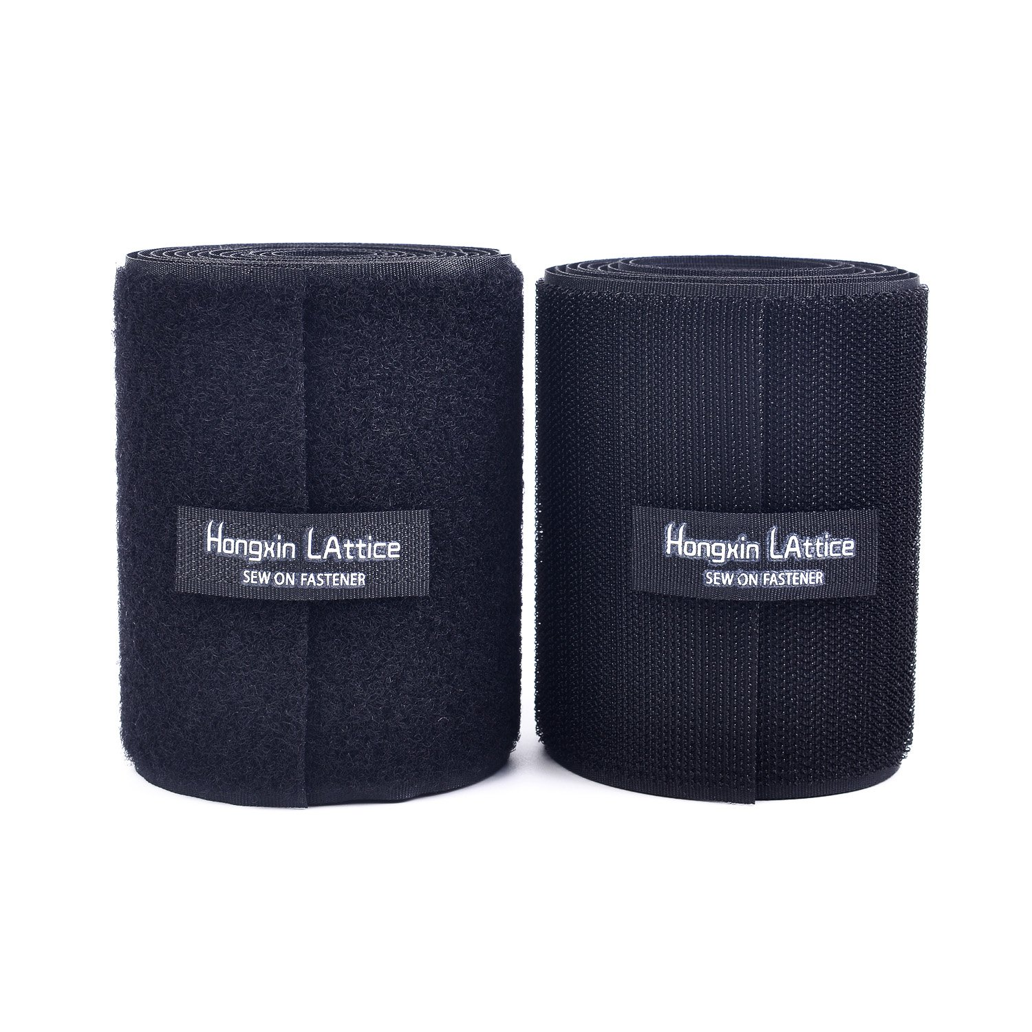 10CM Wide(Approx 4'') 2 Meter Long Sew On Hook and Loop Strips Set with Non-Adhesive Back Nylon Fabric Fastener Black by Hongxin LAttice