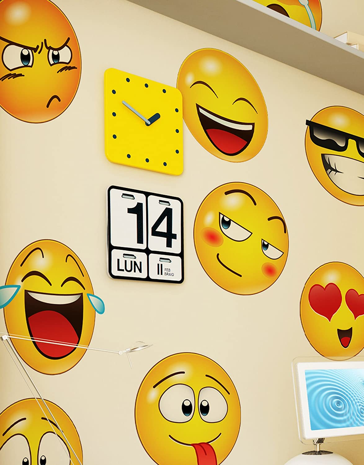 Emoji Icons Faces Wall Stickers Decal 6052 10in X 10in Emoji Faces Amazon Com