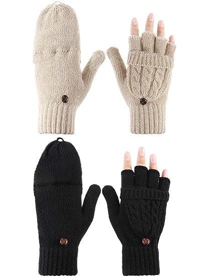 Women's Gloves 2018 New Women Winter Gloves Fingerless Cartoon Knitted Stretch Warm Suede Fabric Full Finger Mittens Sweet Girls Gloves