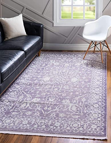 Unique Loom New Classical Collection Traditional Distressed Vintage Classic Purple Area Rug 4' 0 x 6' 0