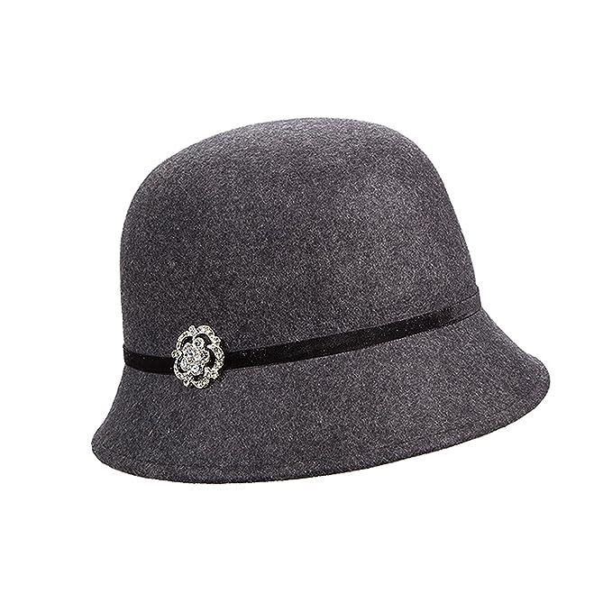 eb34aa78c9d Callanan Wool Felt Cloche with Broach Winter Hat (Black) at Amazon Women s  Clothing store