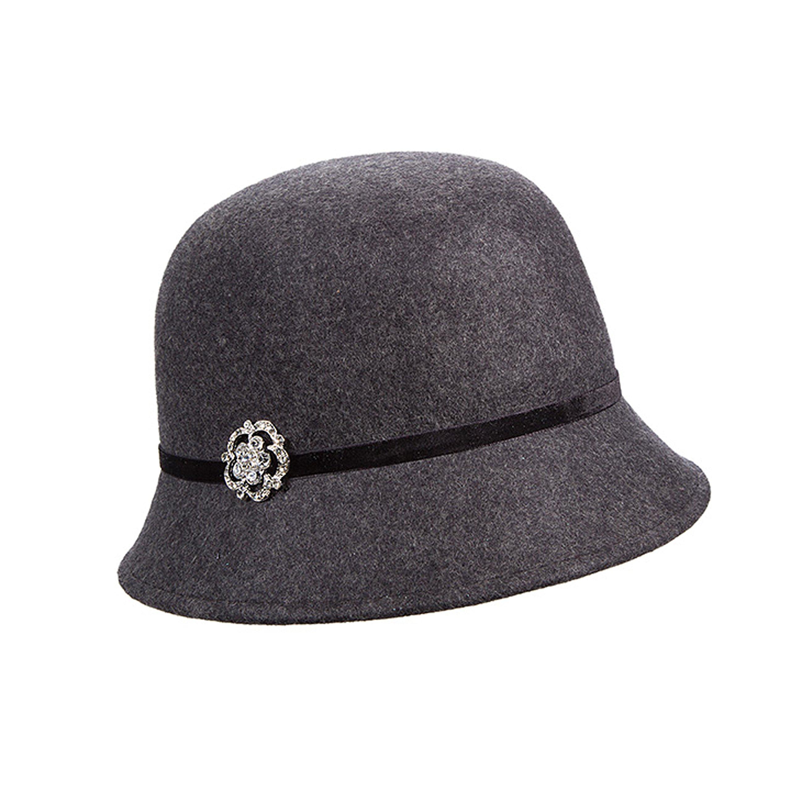 Callanan Wool Felt Cloche with Broach Winter Hat (Charcoal)