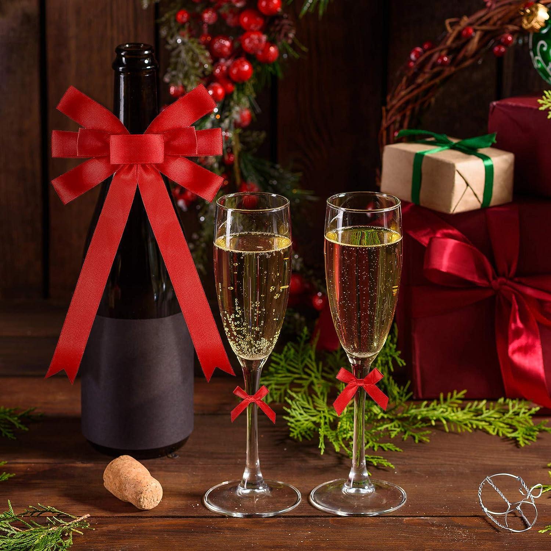3 Stili 160 Pezzi Archi Rossi di Natale Archi della Ghirlanda di Natale Fiocchi di Nastro Rosso Artigianale Archi Decorativi per Natale Decor Celebrazione di Fabbricazione di Ghirlande
