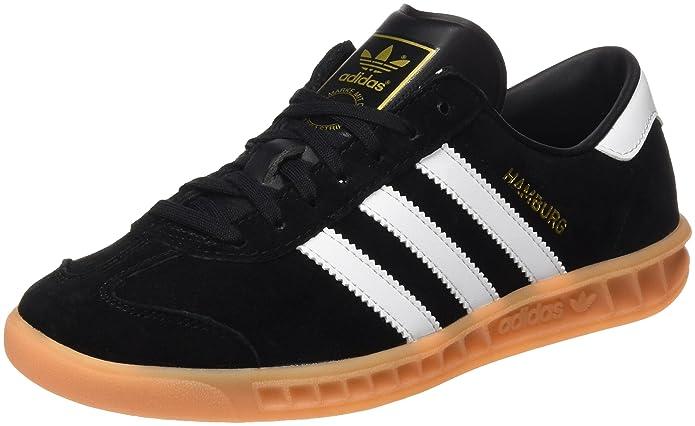 adidas Hamburg Herren/Damen Unisex Schuhe schwarz mit weißen Streifen