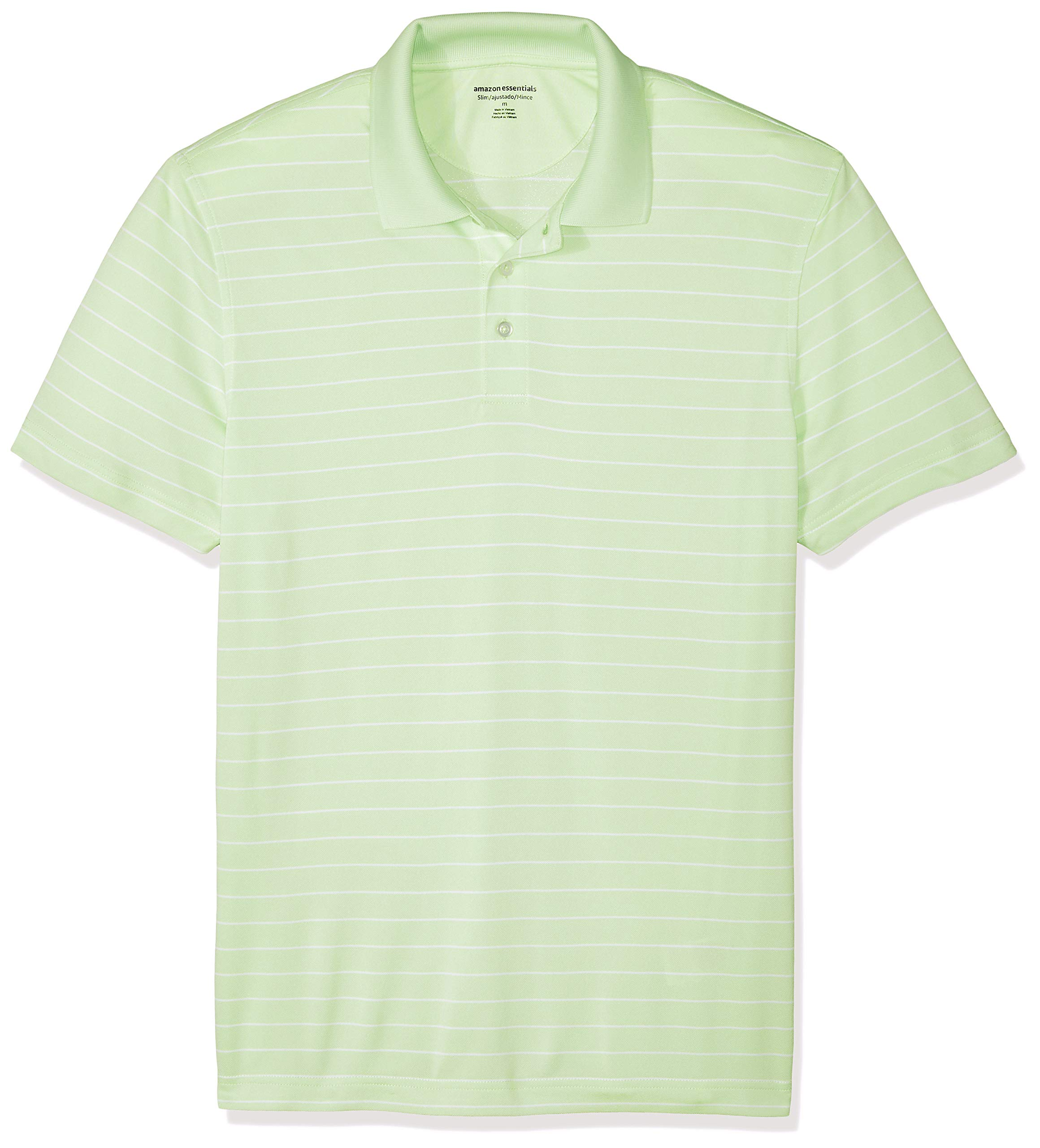 Amazon Essentials Men's Slim-Fit Quick-Dry Golf Polo Shirt, Lime Green Stripe, X-Small