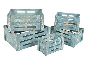 Ts ideen ensemble de caisses en bois coloris bleu usé salon