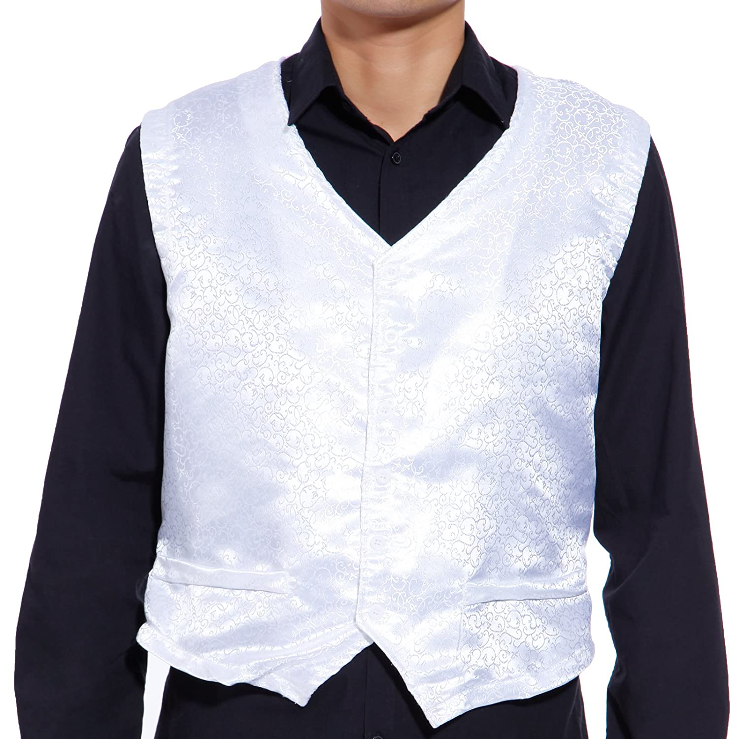 SurePromise Quality Swirl Mens Formal Vest Slim Causal Fit Wedding Tuxedo Suit Waistcoat