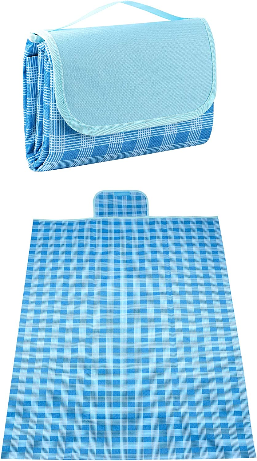 Blue Waterproof Foldable Picnic Blankets for Outdoor Park Travel Camping Hiking Garden 59x79 Actume Picnic Mat with Handle