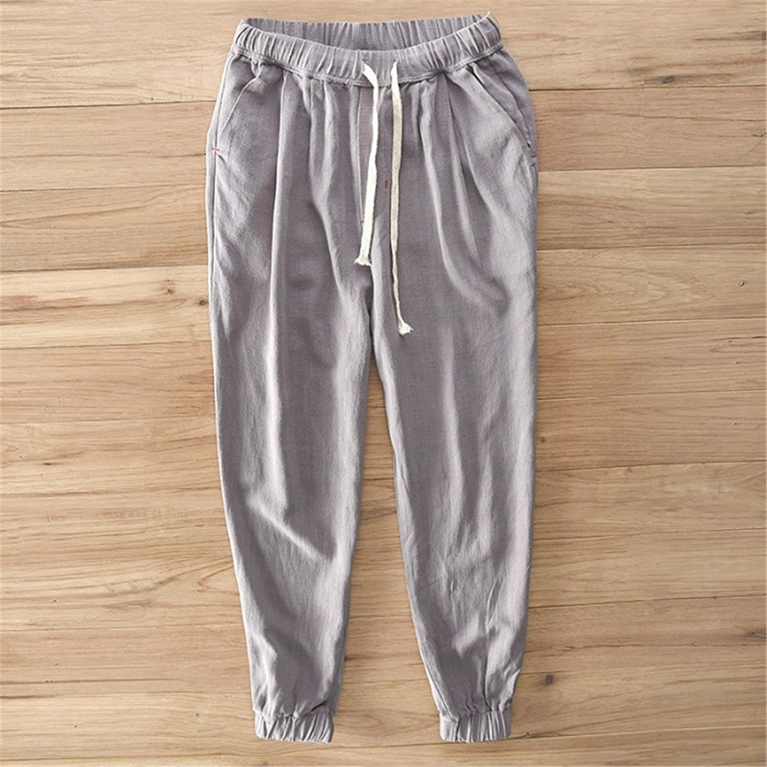 Welcometoo Plus Size S-5XL Mens Summer Casual Pants Cotton Linen Trousers White Elastic Straight Pants Y284