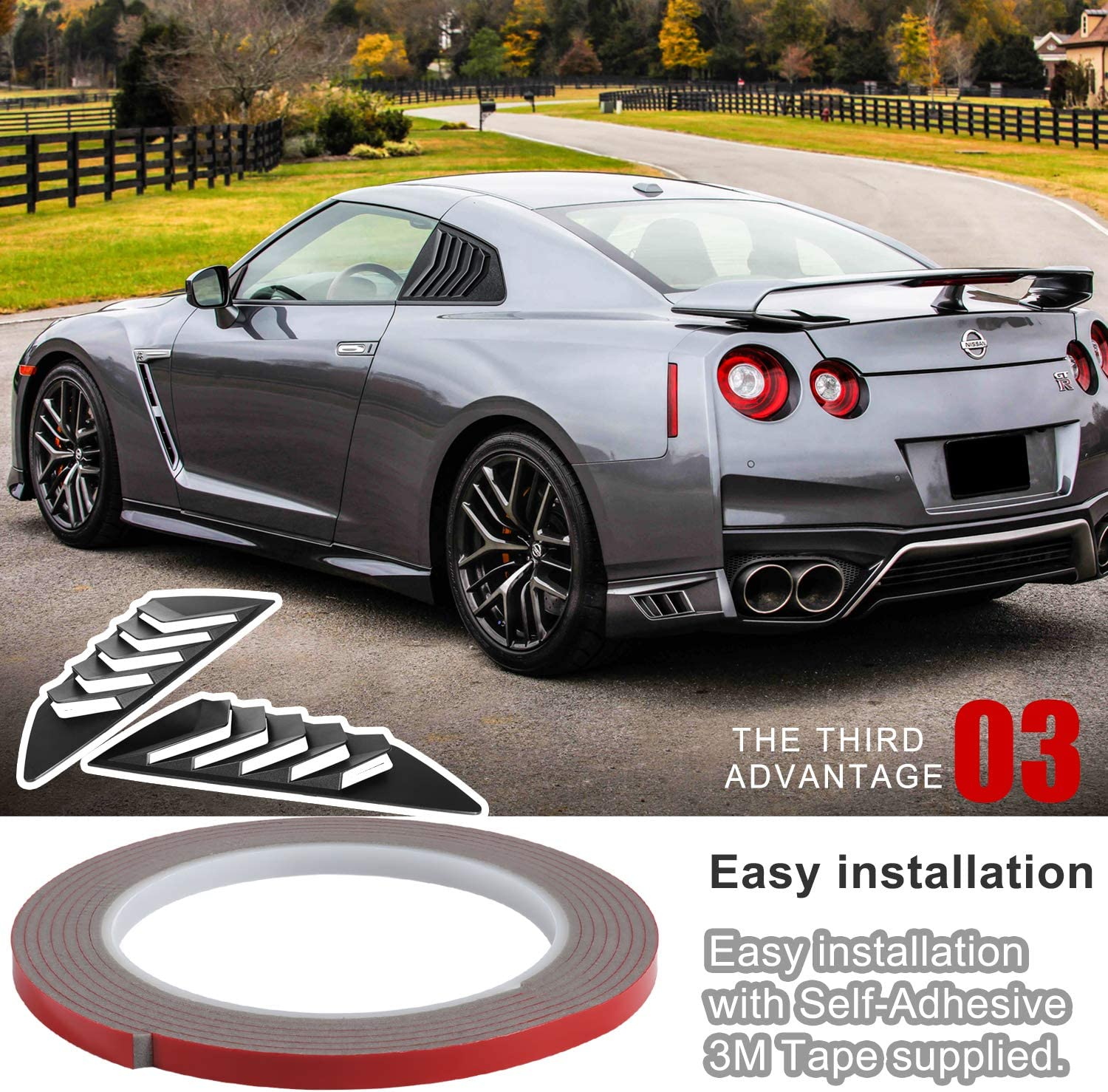 2 PCs Side Window Louvers ABS Air Vent Scoop Shades Cover Blinds Fit for 2008-2017 Nissan R35 GTR GT-R