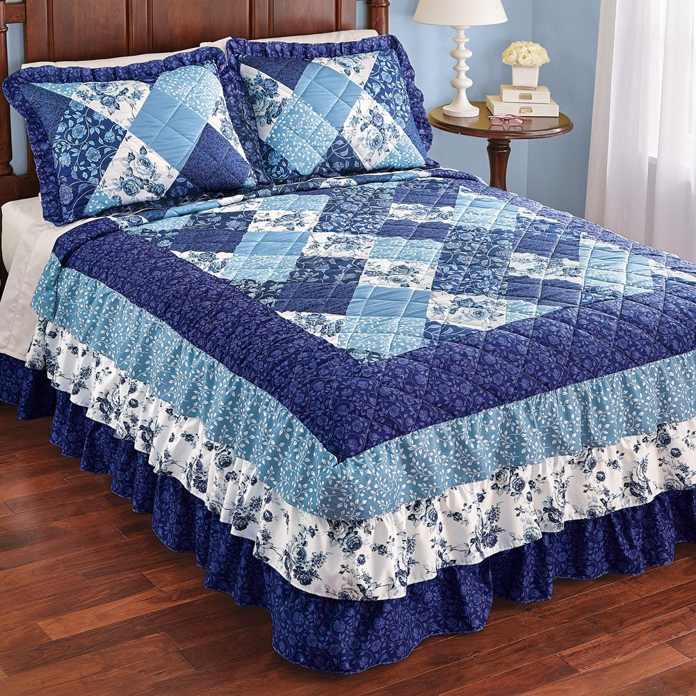 Collections Etc Sonoma Triple Ruffle Floral Patchwork Medium-Weight Bedspread, Blue Patchwork, Queen by Collections Etc (Image #2)