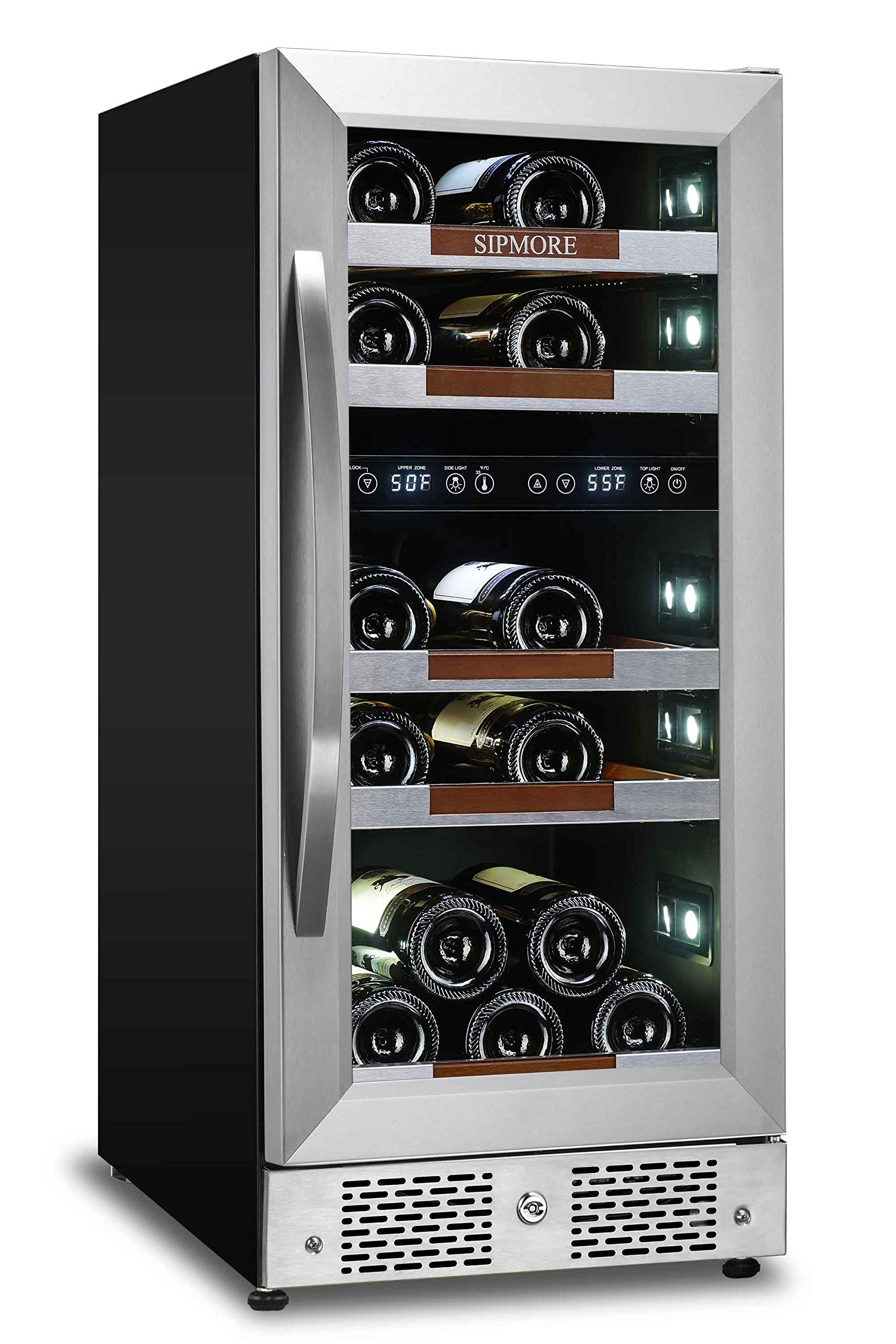 Sipmore Wine Cooler Refrigerator 15'' Dual Zone 21 Multi Sized Bottle Built-in or Freestanding with Seamless Stainless Steel and Smart Temperature Memory System with Stage LED Design by SIPMORE